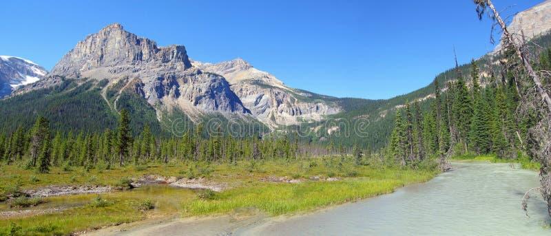 Picos glaciais do rio e de montanha alta em Emerald Lake, Yoho National Park, Columbia Britânica fotos de stock