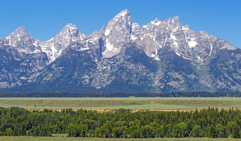 Picos grandes panorama de Teton, Wyoming, EUA imagens de stock