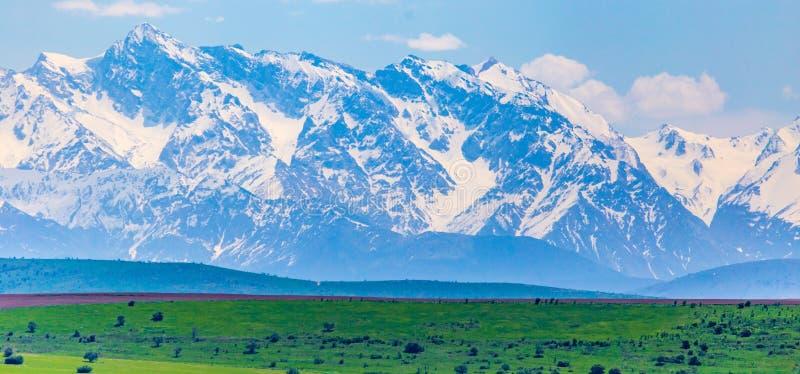 Picos nevados das montanhas na mola em Cazaquist?o foto de stock