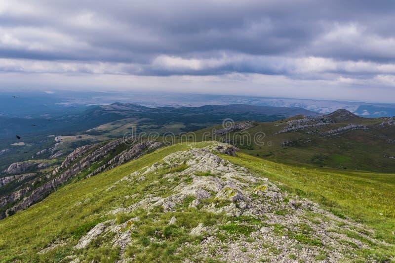 Picos rochosos cobertos com as gramas alpinas fotografia de stock royalty free