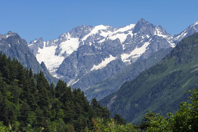 Picos y bosque de montañas rocosas Nevado en fondo del cielo azul en día de verano soleado Soportes del Cáucaso Paisaje de la mon foto de archivo