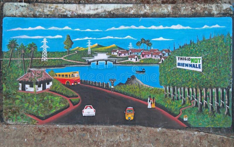 Picrure en la pared al aire libre en Kochi foto de archivo