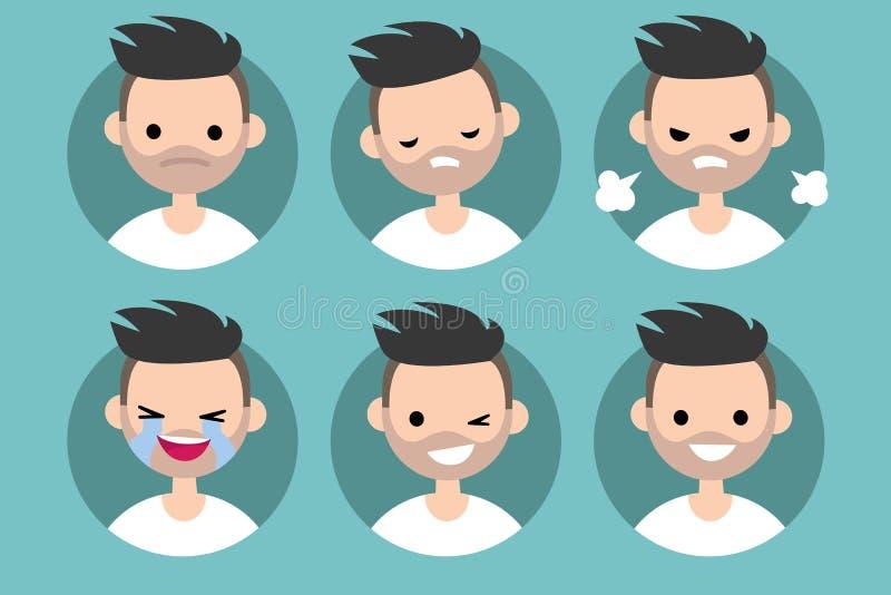 Pics di profilo dell'uomo/insieme barbuti dei ritratti piani royalty illustrazione gratis