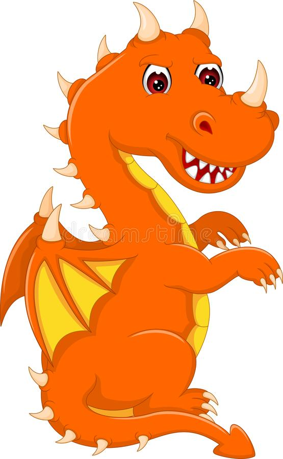 Cute baby dragon cartoon standing with laughing vector illustration