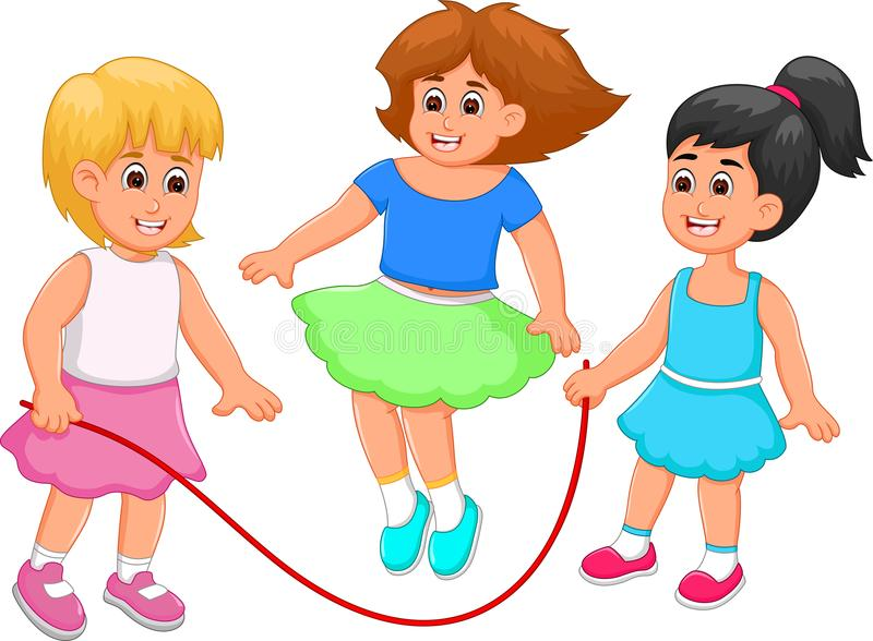 Happy children cartoon play jump rope with happiness royalty free illustration