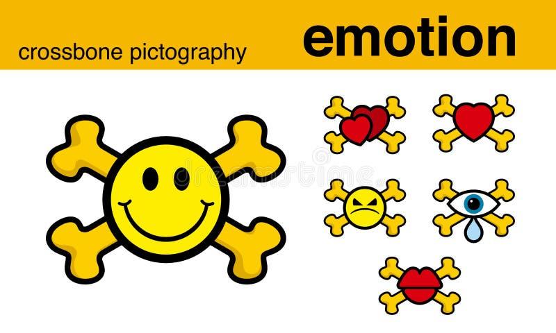 Pictografía del crossbone de la emoción ilustración del vector
