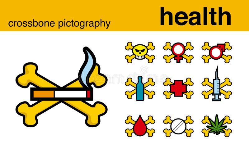Pictografía del crossbone de la salud stock de ilustración