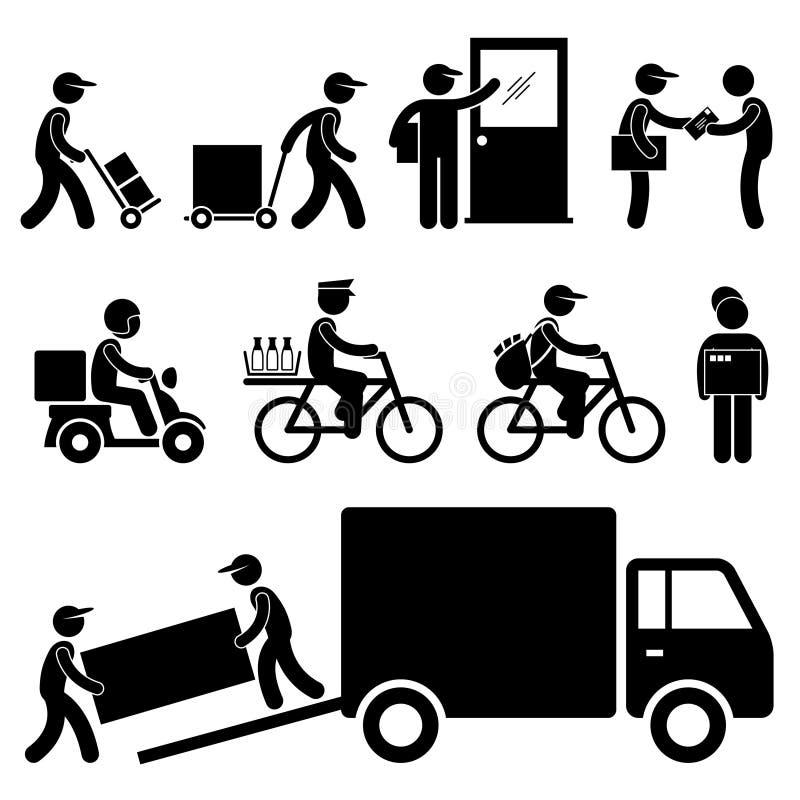Pictogram столба курьера почтальона работника доставляющего покупки на дом бесплатная иллюстрация