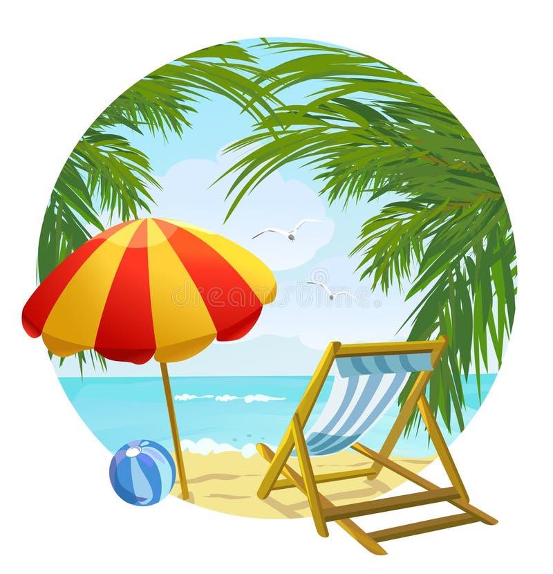 Pictogram aan de strand en zonlanterfanter royalty-vrije illustratie