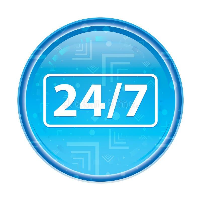24/7 pictogram bloemen blauwe ronde knoop royalty-vrije illustratie
