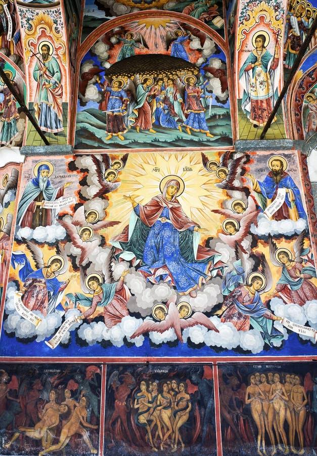 Pictogram in Bulgaars Rila-klooster stock foto