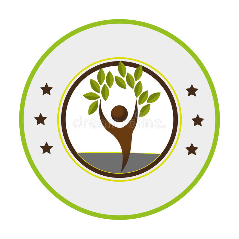 Pictogram of circular frame with tree with human form. Vector illustration stock illustration