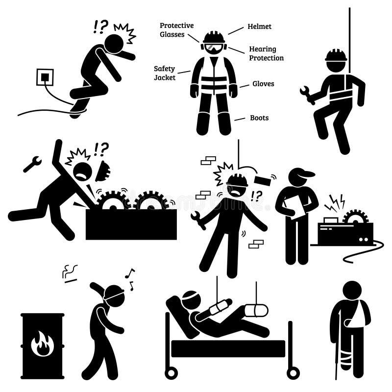 Pictogram Clipart för yrkes- säkerhet och för olycksfara för vård- arbetare stock illustrationer
