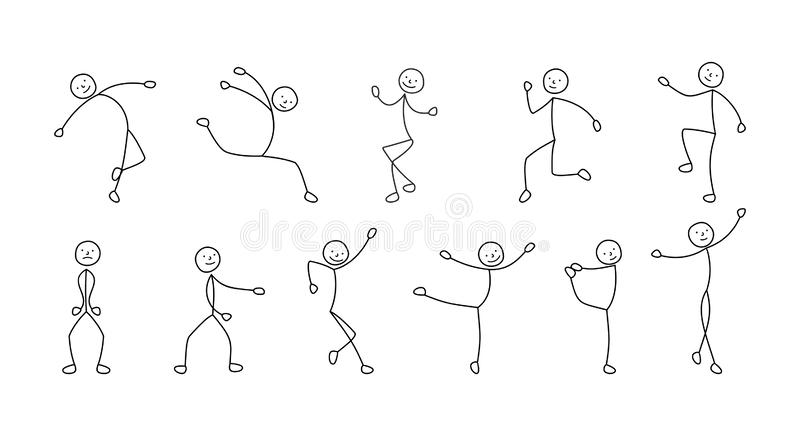 Pictogram dancing people, freehand sketch royalty free stock images
