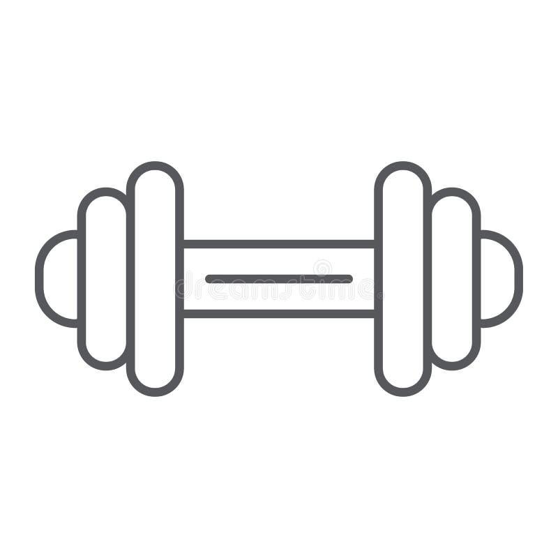 Pictogram, de oefening en de gymnastiek van de domoor ondertekenen het dunne lijn, barbell, vectorafbeeldingen, een lineair patro stock illustratie
