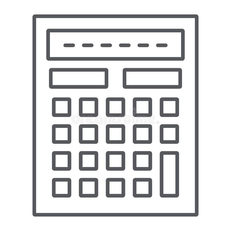 Pictogram, de wiskunde en de boekhouding van de calculator berekenen het dunne lijn, teken, vectorafbeeldingen, een lineair patro stock illustratie
