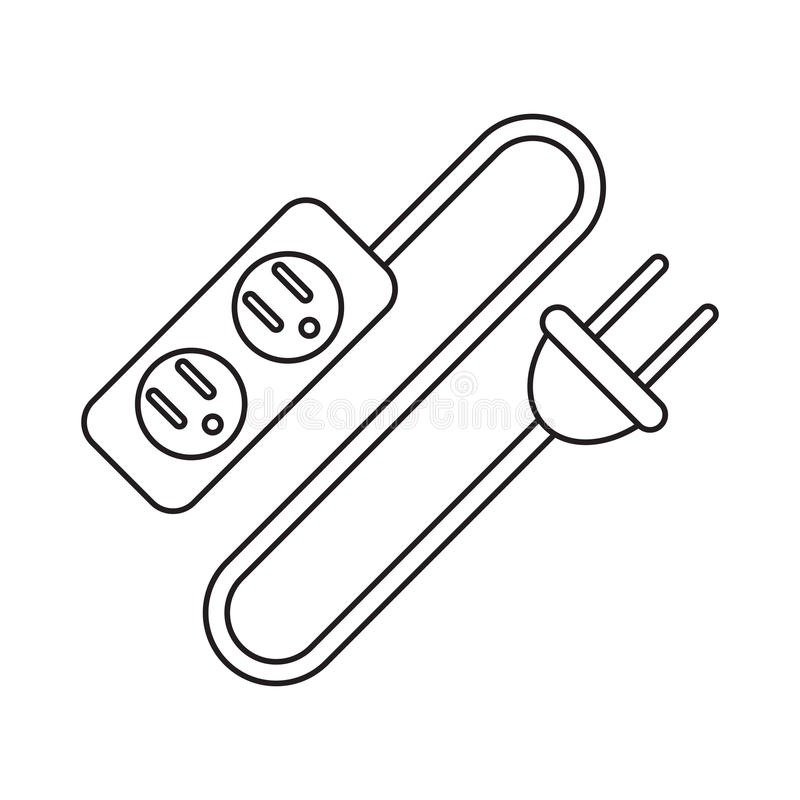 pictogram electric extension cord cable and plug stock