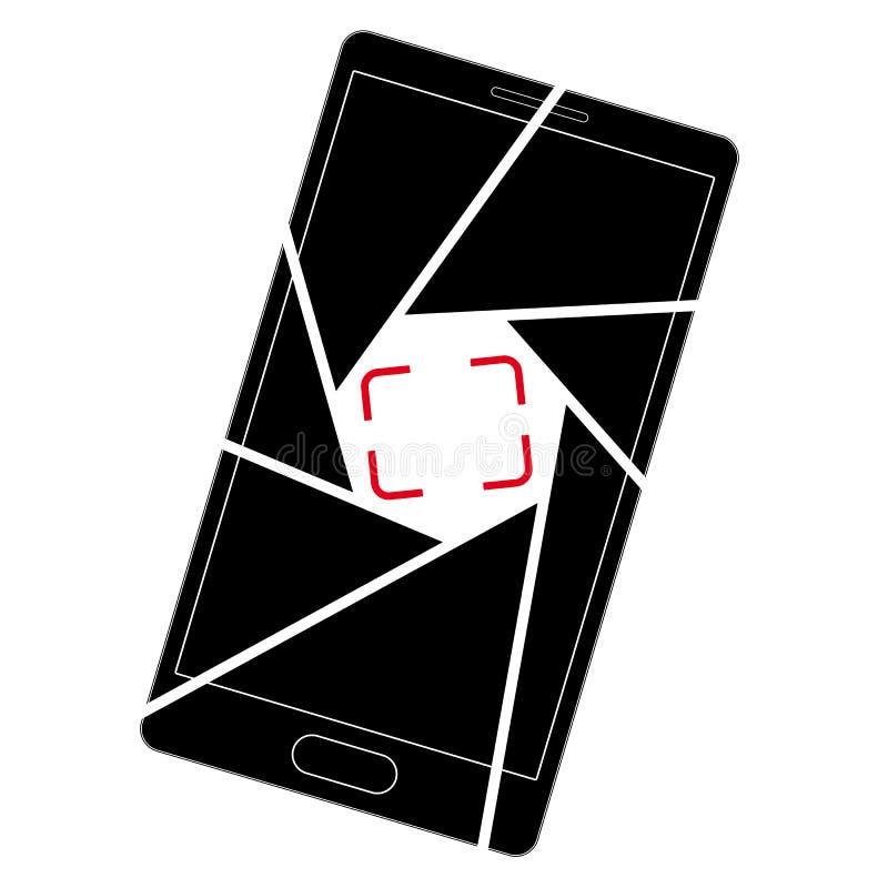 Pictogram of embleem met een beeld van een smartphone Opening en kader van de beeldzoeker stock illustratie