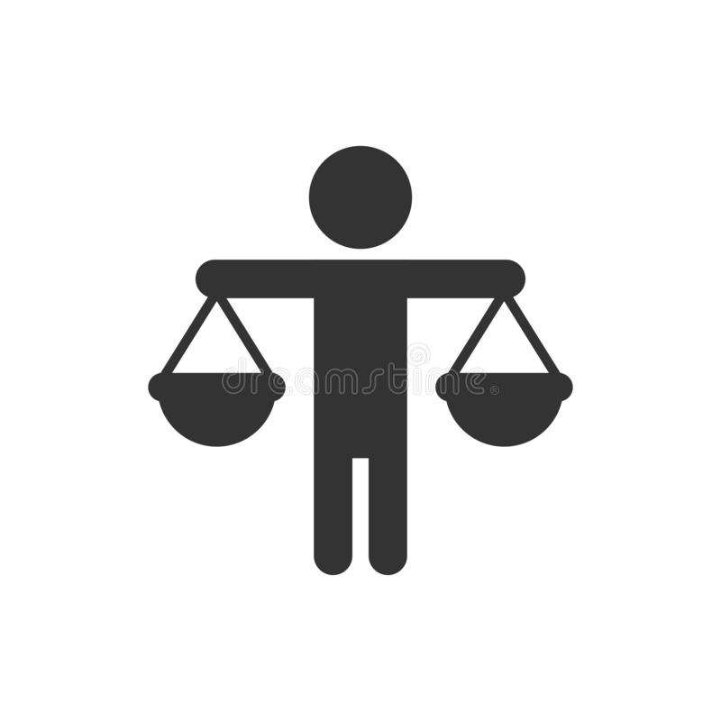 Pictogram ethisch evenwicht in vlakke stijl Eerlijke vectorillustratie op geïsoleerde achtergrond Bedrijfsconcept besluit vector illustratie