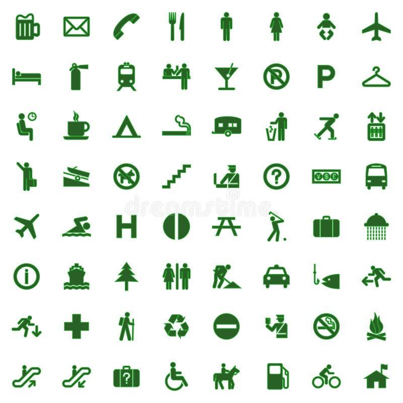 pictogram för 64 olik grön symboler stock illustrationer