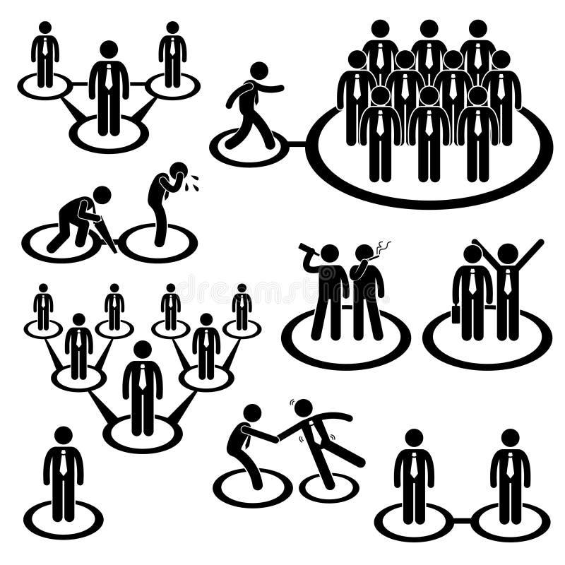 Pictogram för anslutning för nätverk för affärsfolk royaltyfri illustrationer