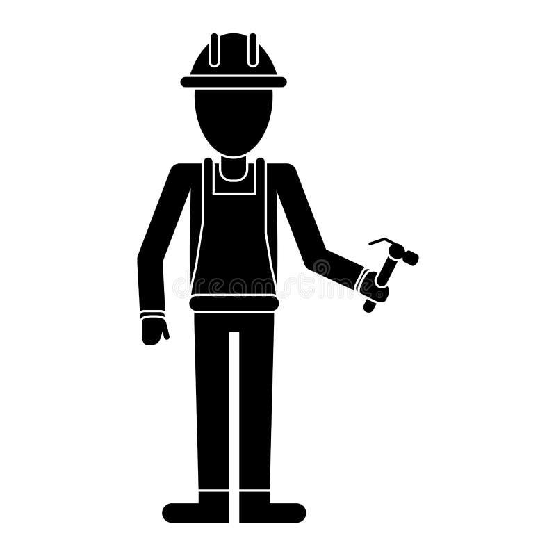 Pictogram för anställd för hjälm för konstruktionsmanhammare stock illustrationer
