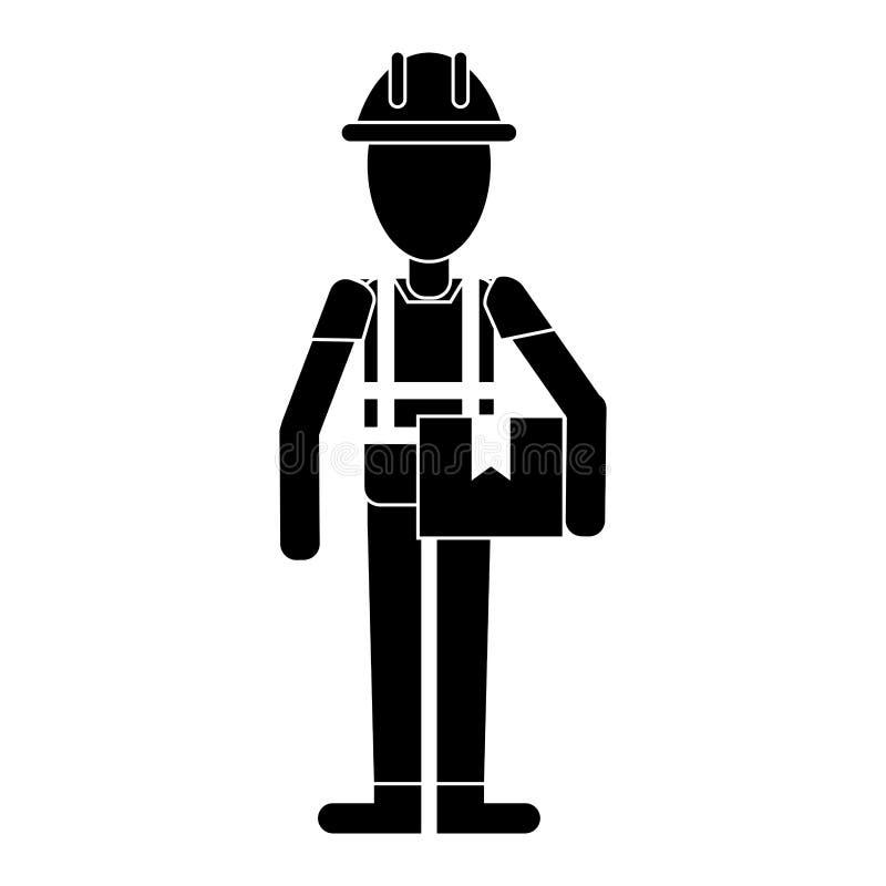 Pictogram för ask för konstruktionsmaninnehav royaltyfri illustrationer