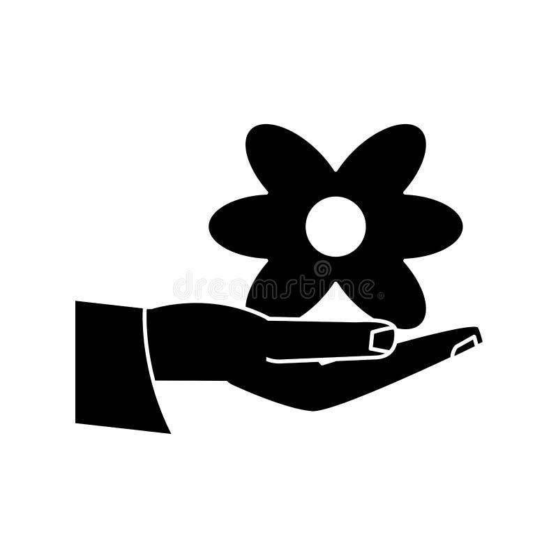 Pictogram för blomma för innehav för kvinnadaghand royaltyfri illustrationer
