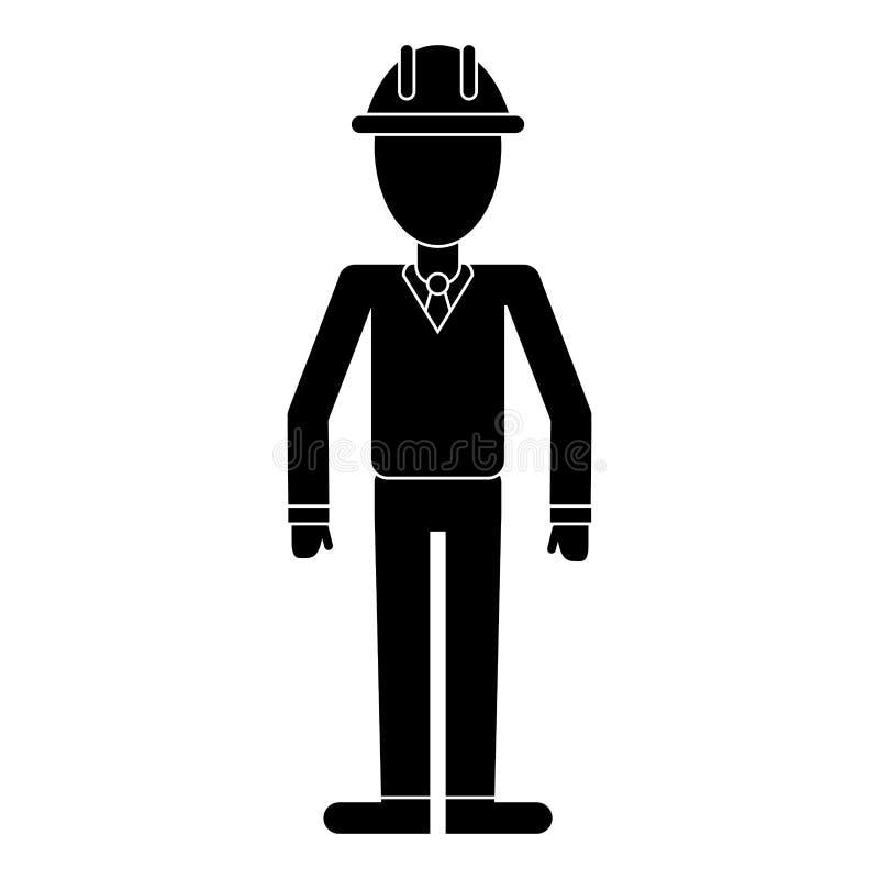 Pictogram för chef för contruction för hjälm för affärsman royaltyfri illustrationer