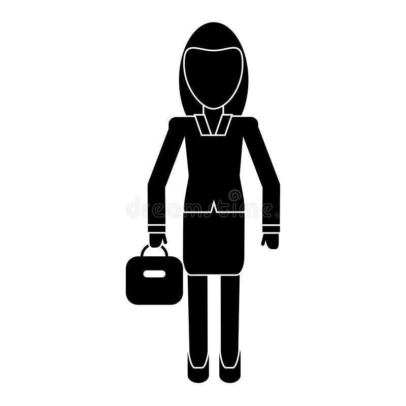 Pictogram för chef för kvinnaaffärsresväska royaltyfri illustrationer