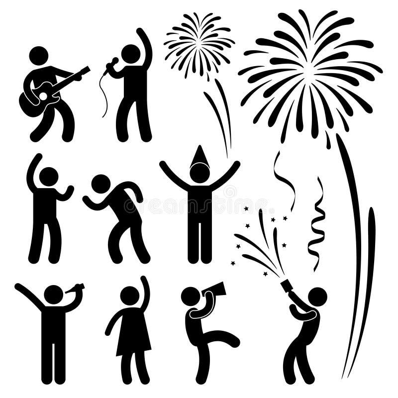 pictogram för deltagare för berömhändelsefestival royaltyfri illustrationer