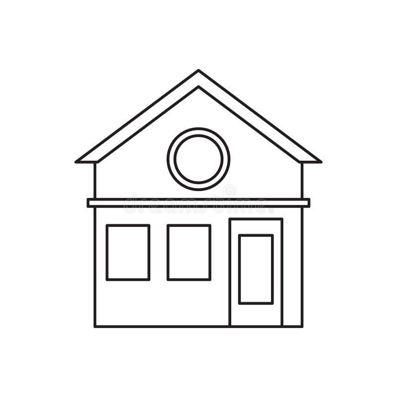 Pictogram för design för familjhusfasad bostads- royaltyfri illustrationer