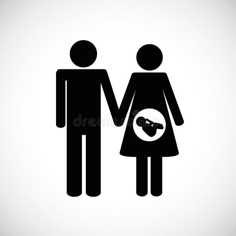 Pictogram för familjfundamentgravid kvinna stock illustrationer