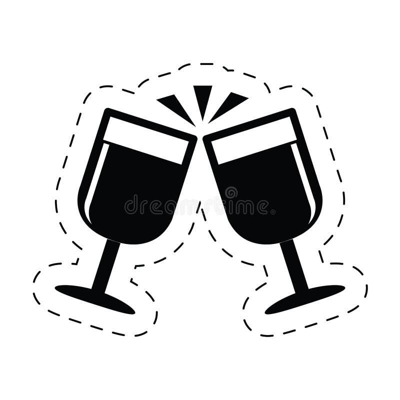 pictogram för finka för beröm för koppchampagnedrink stock illustrationer
