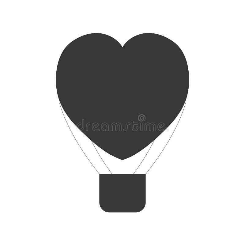 pictogram för flyg för hjärtaförälskelseairballoon stock illustrationer