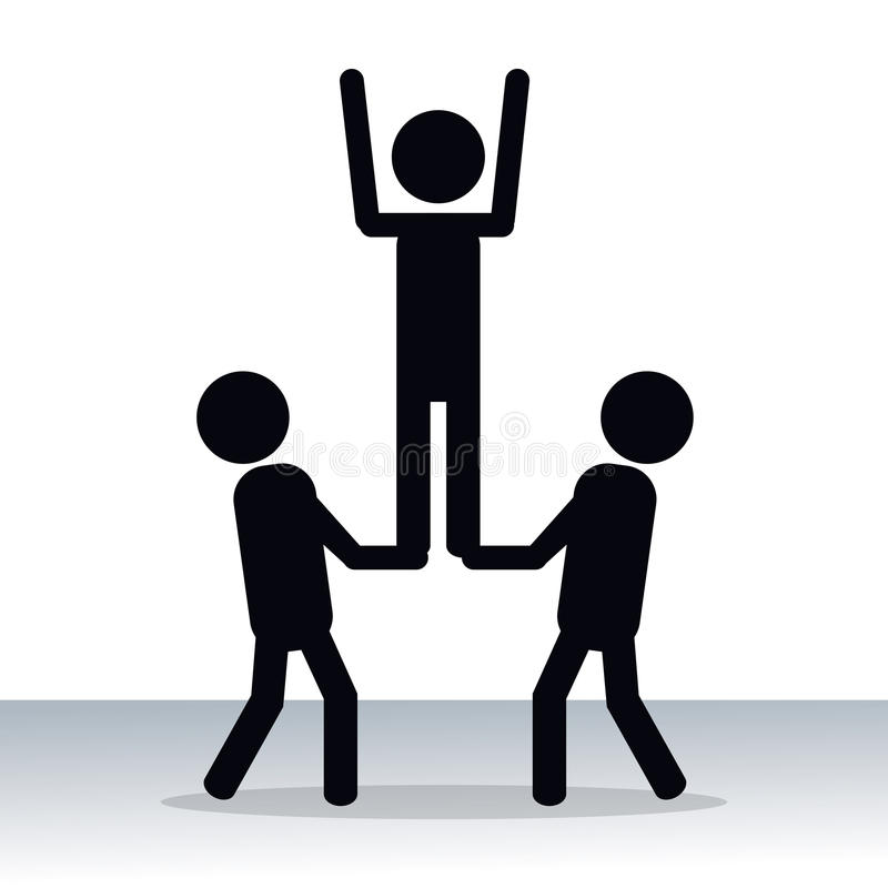 Pictogram för innovation för personteamworksamarbete stock illustrationer