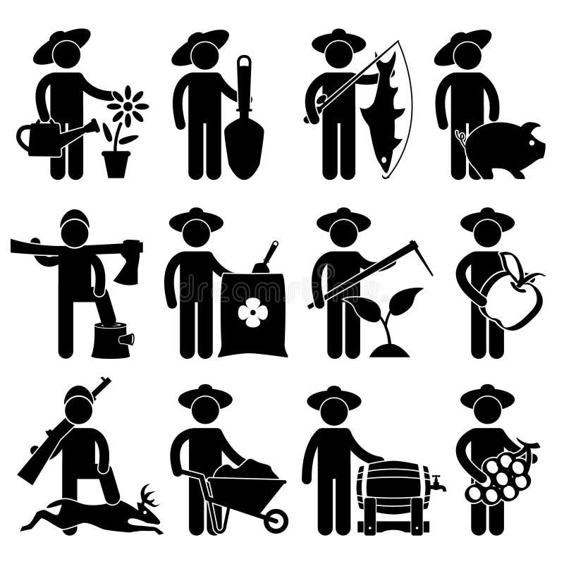 pictogram för jägare för bondefiskareträdgårdsmästare stock illustrationer