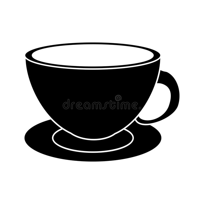 Pictogram för platta för cappuccino för kaffekopp stock illustrationer