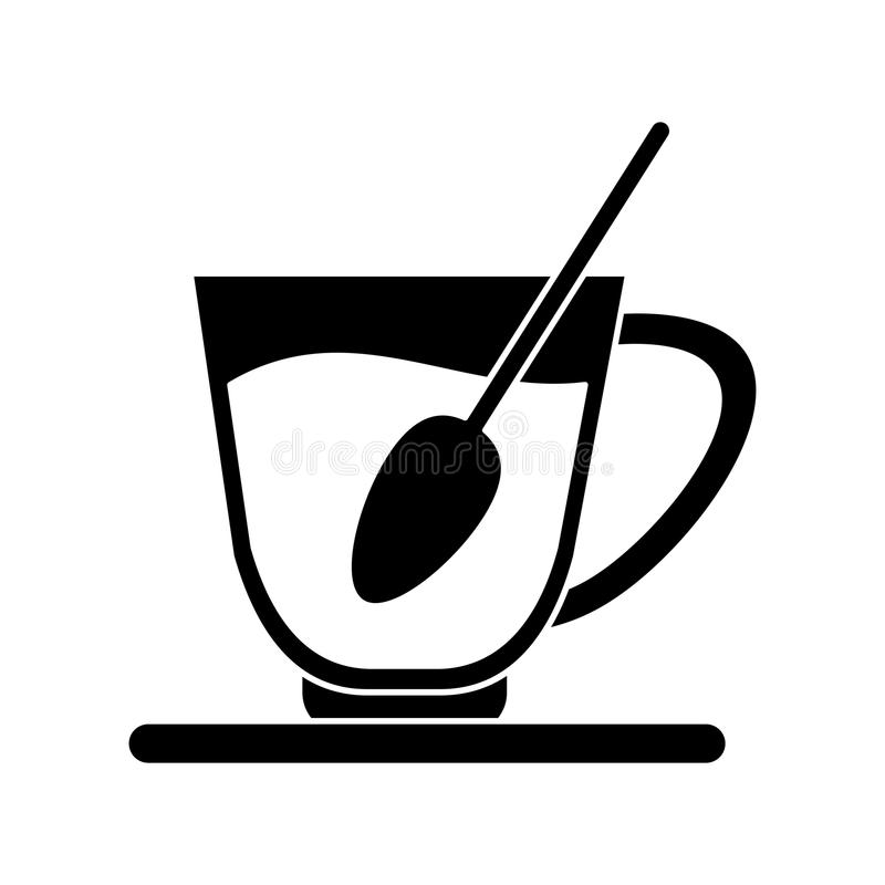 pictogram för platta för sked för kaffekopp vektor illustrationer