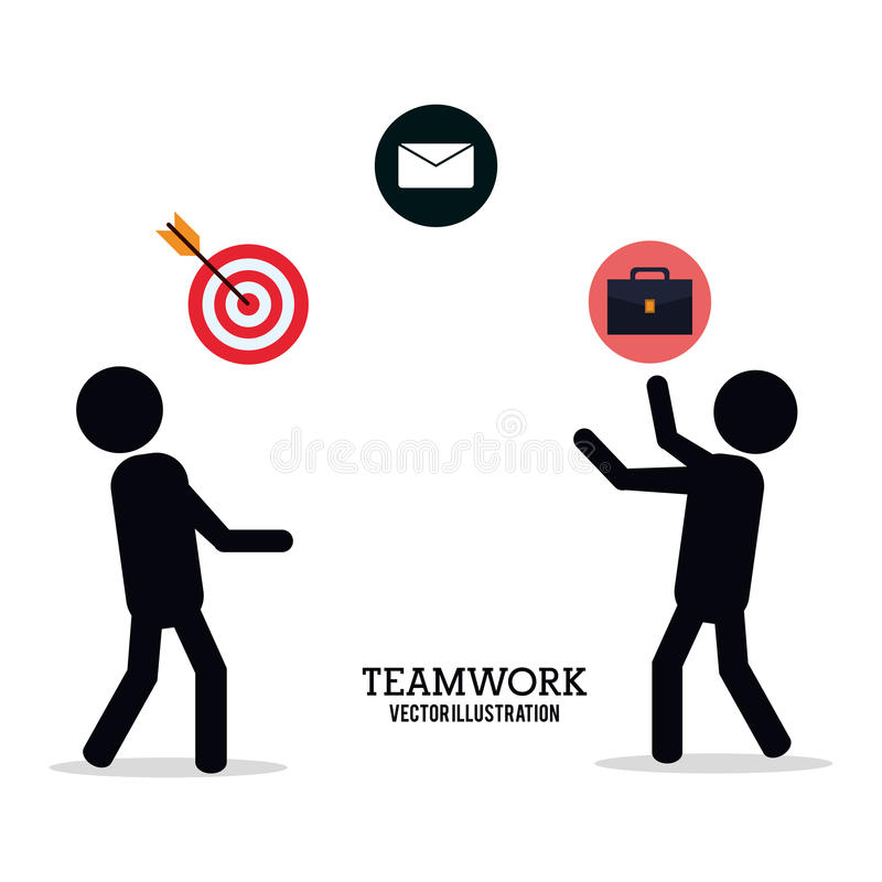 Pictogram för portfölj för email för personteamworkceo vektor illustrationer