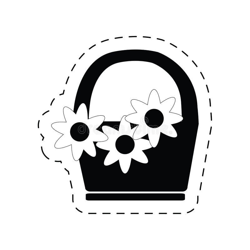 pictogram för prydnad för garnering för korgblomma stock illustrationer