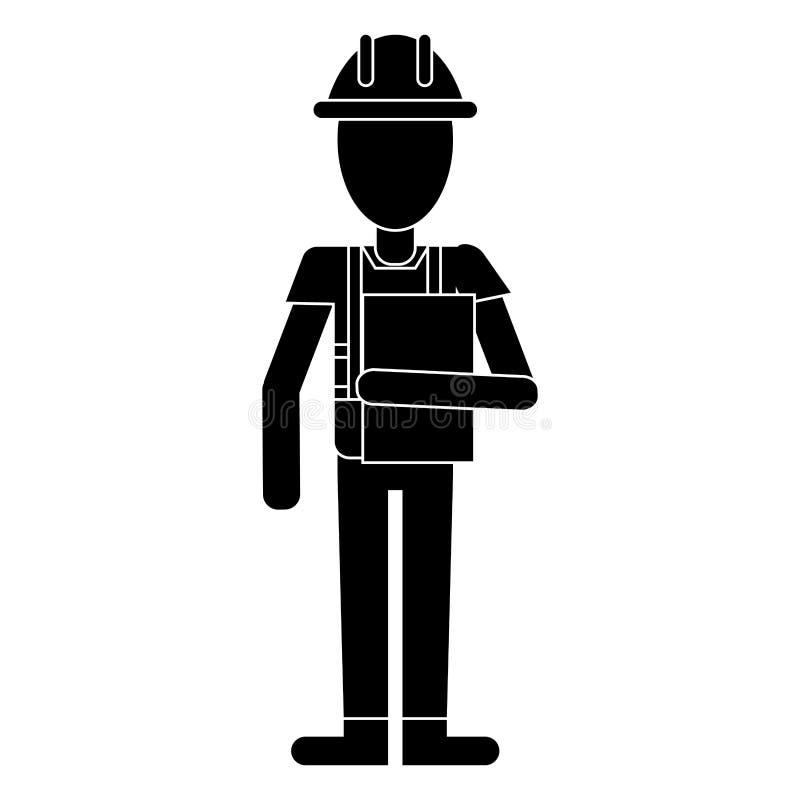 Pictogram för skrivplatta för konstruktionsmanoveraller royaltyfri illustrationer