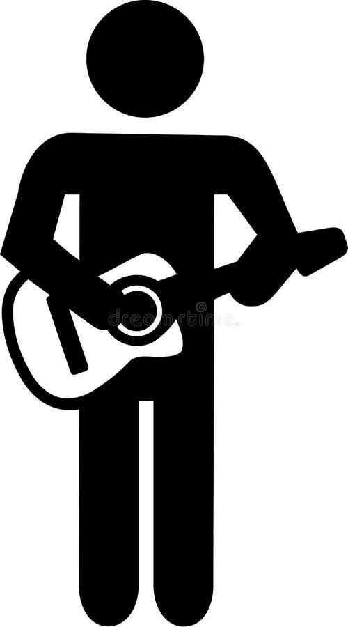 Pictogram för spelare för akustisk gitarr stock illustrationer