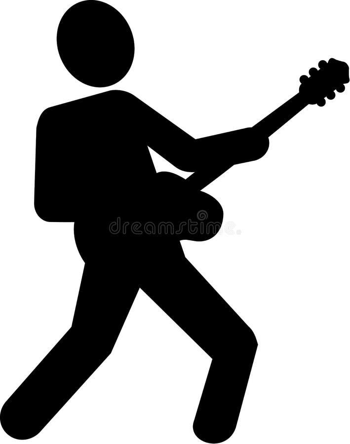 Pictogram för spelare för elektrisk gitarr royaltyfri illustrationer
