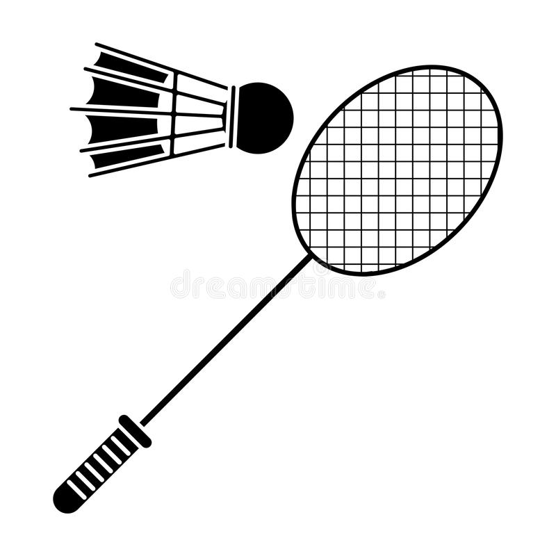 pictogram för sport för fjäderboll för badmintonracket royaltyfri illustrationer