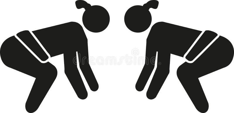 Pictogram för Sumobrottning royaltyfri illustrationer