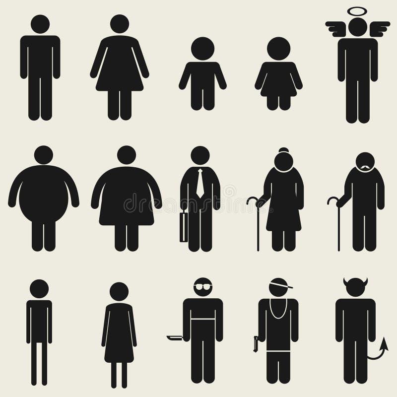 Pictogram för symbol för folksymbolstecken stock illustrationer