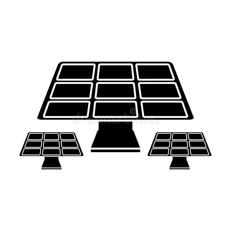 Pictogram för symbol för solpanelenergimiljö stock illustrationer