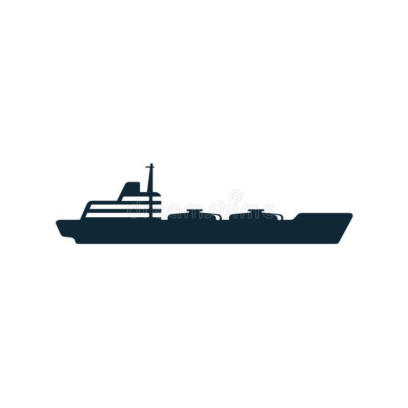 Pictogram för symbol för lägenhet för skepp för tankfartyg för olje- bränsle för vektor stock illustrationer