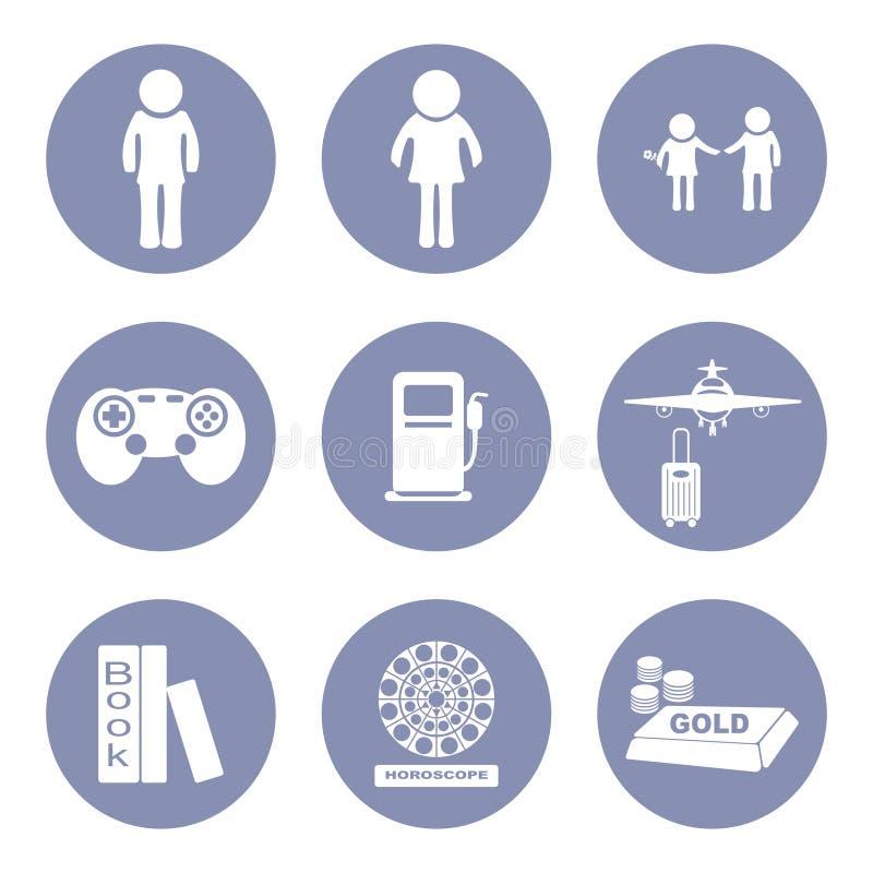 Pictogram för uppsättning för livsstilfolksymbol för presentation in stock illustrationer